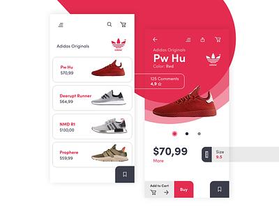 Adidas Originals App - Concept vector illustrator android typography design logo material design gif ui ux redesign google motion animation