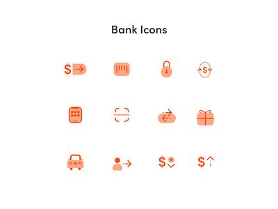 Bank Icons bank illustration design logo ux ui