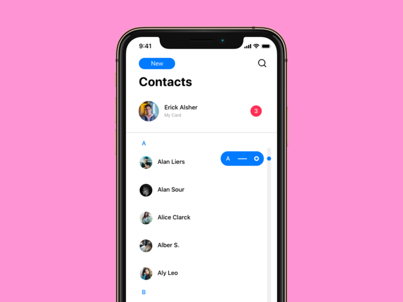iOS Contacts Redesign illustration design ui redesign app adobe xd app contacts redesign ipad iphone ios
