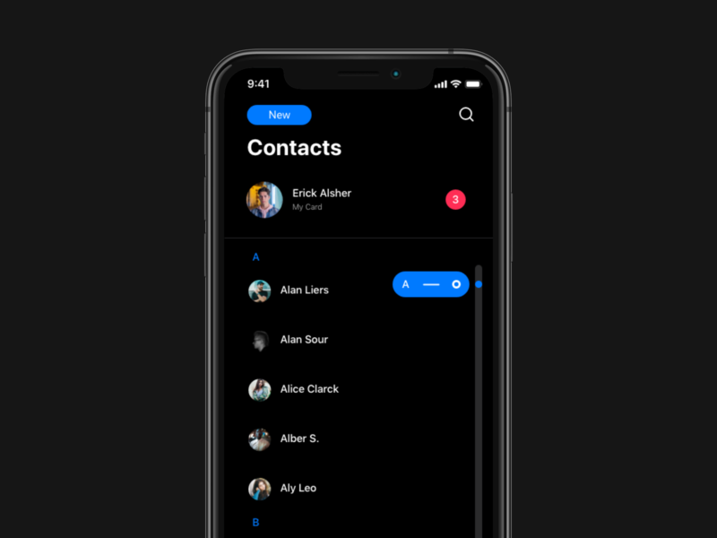 iOS Contacts Redesign. DARK MODE iphone ipad redesign adobexd adobe ios