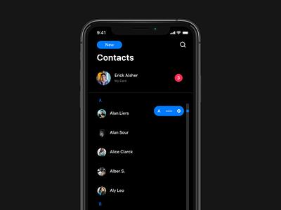 iOS Contacts Redesign. DARK MODE iphone ipad redesign adobexd adobe ios