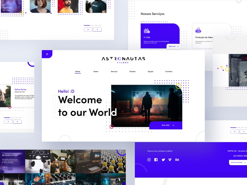Astronautas Filmes Web Site branding icon typography vector logo illustration design redesign ux ui