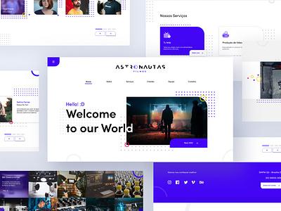 Astronautas Filmes Web Site branding icon typography vector logo illustration design redesign ux ui