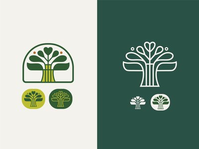 Flora Badges badges branding logo green logodesign nouveau vintage icon tree logo heart tree