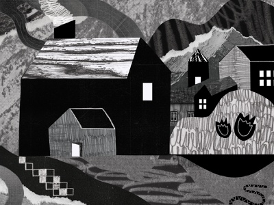 Houses on a Hill papercutting paper wacom pencil scanner mountain house album cover album art print design hand drawn collage shapes illustration texture
