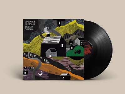 And the Foothills album vinyl pencil paper art cutouts hand drawn wacom multimedia scanning paper abstract forest woods cabin landscape mountains shapes collage illustration texture