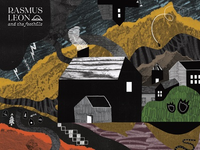 And the Foothills appalachia mountain paper cut paper abstract illustration halftone multimedia scribbles house landscape texture shapes collage hand drawn print design illustration album cover design album cover art album artwork album art
