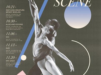 Dance Scene print design futuristic minimal serif typography photocopy gradient movement lines shapes dance poster
