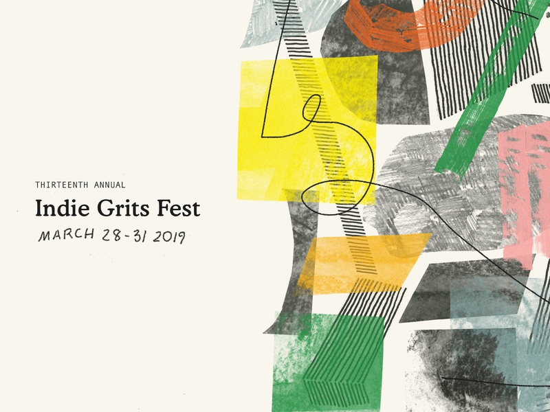 Indie Grits 2019 geometric shapes lines diy hand cut pencil hand drawn texture color festival film festival film branding wip