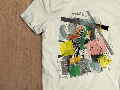 Just Another Band Tee? branding festival dtg overlay hand drawn text shapes design hand drawn texture shirt design