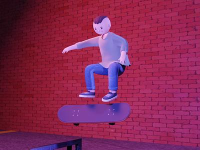 Skate skateboarder skateboarding jump blender3d 3d skater skate skateboard