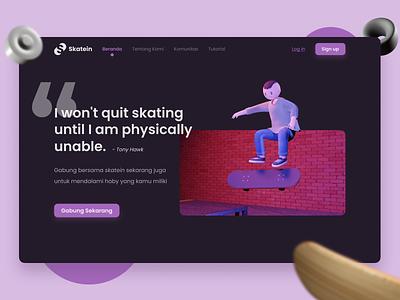 Exploration - Skateboard community landingpage ui  ux ui uxdesign uidesign ui design landing page web design webdesign 3d art