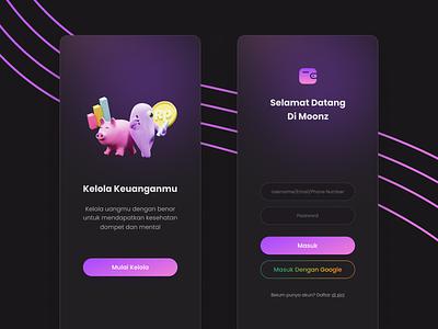 Money Management Apps - Onboard & Login screens app design 3d ui clean ui uxdesign ui designs uidesign