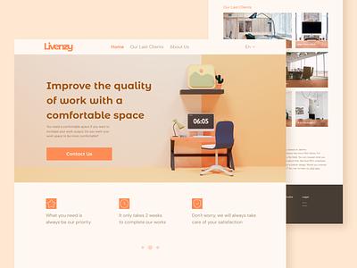 Websites exploration of Interior Design Agency landing page website design ui 3d clean ui uxdesign ui designs uidesign