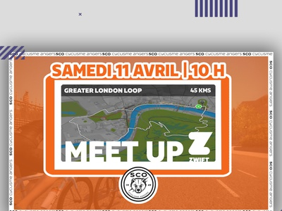Meets Up meetup zwift logo icon typography scocyclisme illustration vector design