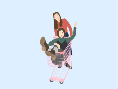 Friendship cute flat illustration illustration on ipad friendship girls