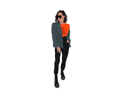 Keep your distance art vector style girl flat illustration