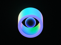 Dilate 👁️ c4d gradients eyeball eye blockchain futuristic neon illustration marque logo cinema 4d octane animation iridescent holographic gradient abstract crypto branding 3d