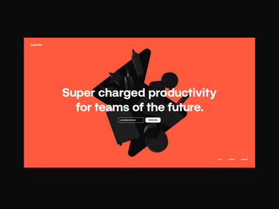 Superlist ⚡ typography webgl interaction website logo web design ui abstract octane cinema 4d animation branding 3d