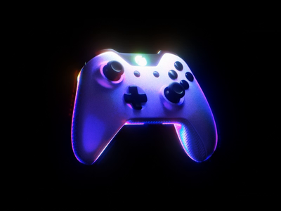 Carbon Controller 🎮 microsoft cyberpunk neon glow game games xbox controller gaming holographic iridescent c4d abstract octane cinema 4d animation branding 3d
