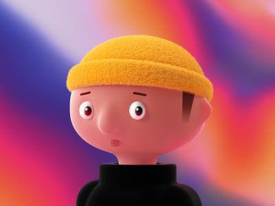 Self Portrait 2021 holographic iridescent graphic designer profile character designs character design portrait c4d octane cinema 4d branding 3d