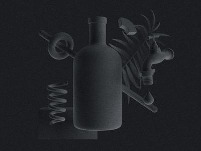 Spirits illustration octane render model 3d spring botanicals plant abstract