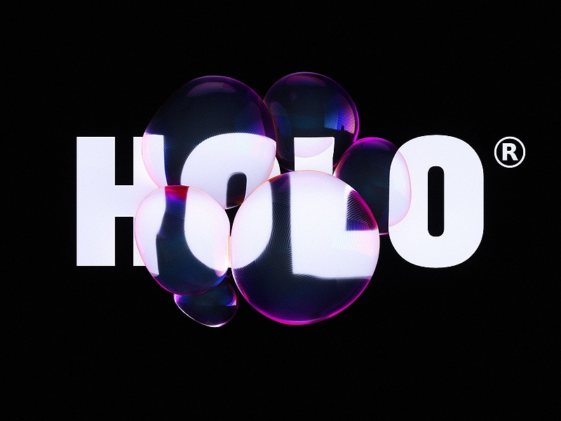 Holo type treatment blobs logo landing page typography abstract 3d
