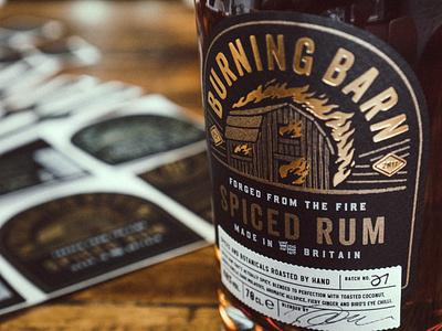 Burning Barn Rum Bottle tag stamp gold foil logo bottle rum spirit label monogram branding packaging