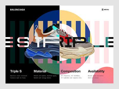Balenciaga Triple S Page abstract web design website fashion trainers interaction ui ux balenciaga