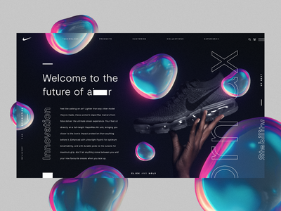 Nike Vapormax Product Page 3d fashion website animation nike branding trainers interaction ui ux web design