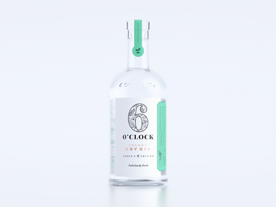 6 O'Clock Gin Jekka's Edition 🌿 summer herbs typography lettering batch label green packaging branding gin alcohol