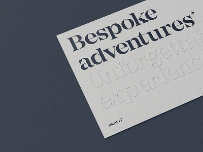 Bespoke Adventures type typography paper c4d octane cover book packaging brand printing blind embossed debossing embossing finish print 3d