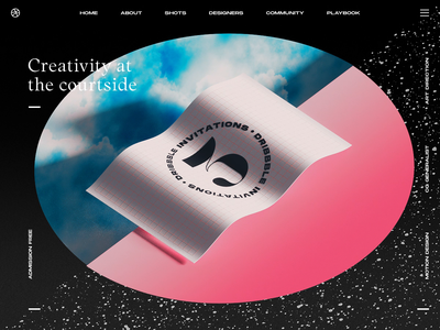 3 x Dribbble Invites Available invite dribbble invite ticket flag wavey render gif typography website ux interaction web design ui c4d abstract cinema 4d octane animation branding 3d