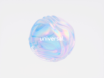 Universal Shaders iridescent holo dream neon metal type organic bubble rainbow holographic gradient blobs glitch abstract typography logo c4d cinema 4d animation branding 3d
