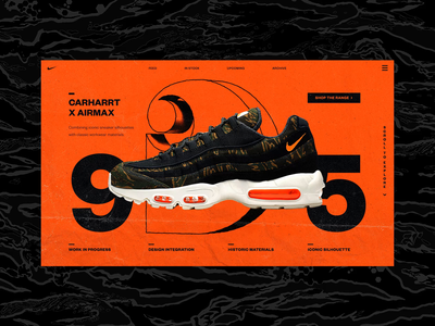Carharrt X Airmax 95 art direction carharrt nike render glitch fashion interaction ux website logo abstract c4d typography trainers sneakers ui web design cinema 4d branding 3d