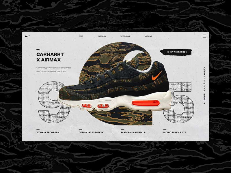 Carharrt X Airmax Alt Colour hero image header product page shop ecomerce ecom sneaker airmax carharrt nike design web design abstract branding