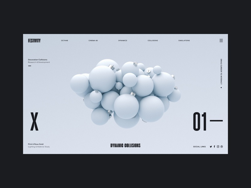 BaulBauls Alt Colourway holidays christmas render typography ux interaction web design ui c4d abstract cinema 4d octane branding 3d
