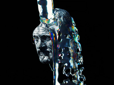 Liquid Sim illustration splash art direction statue rainbow holographic 3d render water oil simulation liquid sim c4d abstract cinema 4d octane animation branding 3d
