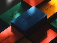 Formatique Business Cards render bestservedbold art direction cinema4d idenity brand logo typography mockup busines card color shadows colour c4d abstract cinema 4d octane animation branding 3d