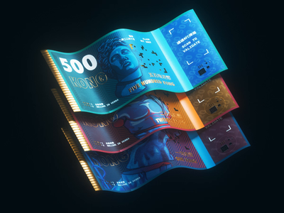 KONG Crypto 💸 holo iridescent holographic blockchain gradient glitch product cash cryptocurrency qr retro neon cyberpunk statue money illustration crytpo animation branding 3d