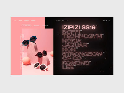 Nightingale Interactions 02 glitch cinema 4d octane 3d glow particles abstract homepage landing page slider typography ui interaction web design animation branding