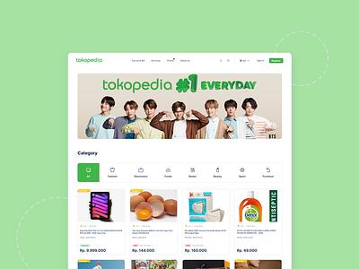 Tokopedia redesign - Landing Page landingpage tokopedia website typography ui ux figma design
