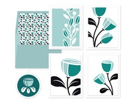 Whimsy flowers - four cards