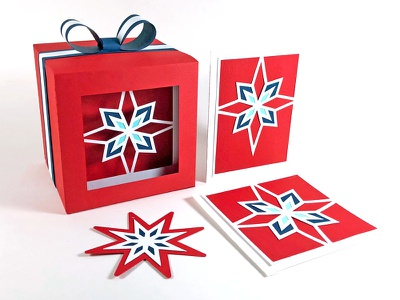 North Star Collection - cards and gift box papercraft paper cards hangtag gift cards 3d box gift box gift christmas holiday star north star