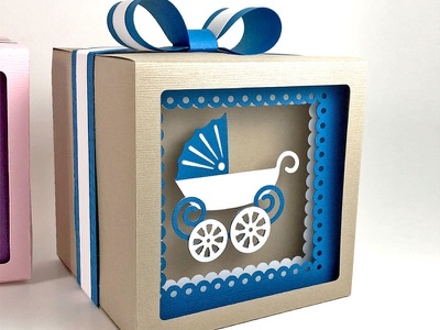 Baby carriage shadow gift box 3d paper box gift box gift shower carriage baby