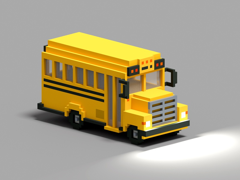 school bus voxelart voxel magicavoxel illustraion 3d