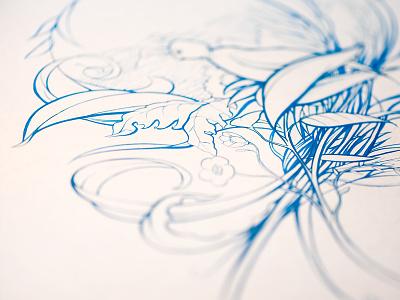 Another blue bird... brush acrylic illustration sketch
