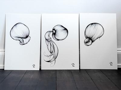 Trio of hairdos, part I bun pony blow dry hair hairdo brush ink