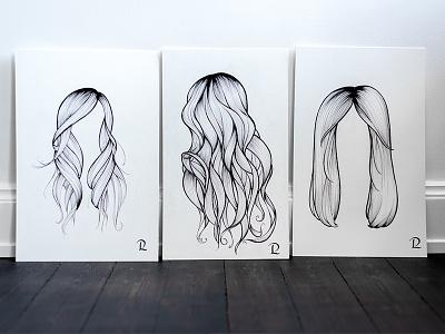 Trio of hairdos, part II straight beach glam blow dry hair hairdo brush ink