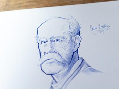 Oscar Montelius portrait drawing sketch bic pen ball point
